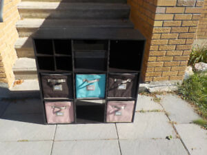 Cube organizer with fabric drawers