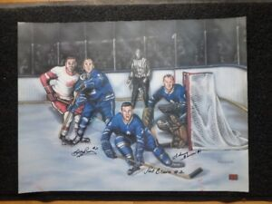 Johnny Bower, Bobby Baun, Carl Brewer Toronto Maple Leafs 24x18