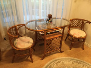 Wicker dining set with glass top