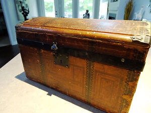 all aboard 1800s salesman sample doll STEAMER TRUNK chest WOOD