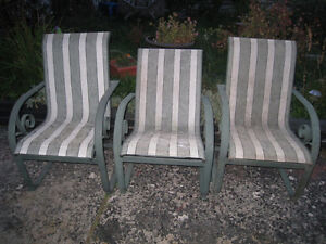 3 ALUMINUM (Don't rust) Patio Chairs, lightweight,used,good cond