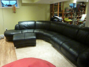 Black Leather Sectional Couch.