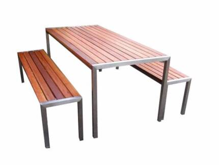 CLOSING DOWN Stain Steel Outdoor Furniture Table And Bench Seats