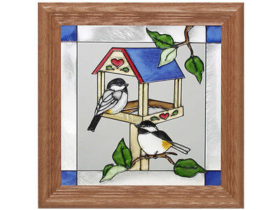 13x13 CHICKADEE on Bird Feeder Stained Art Glass Framed Suncatcher