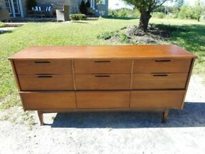 MCM Walnut Kaufman 9 Drawer Dresser