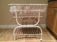Baby bassinet stand and wicker basket