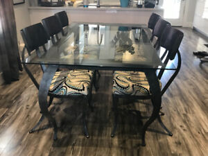 One of a kind!!! dining table and six chairs