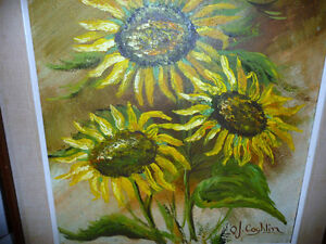"Garden Study by O. J. Coghlin ""Sunflowers"" Original Oil Painting Stratford Kitchener Area image 7"