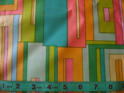 vintage polished cotton blend fabric material 60s 70s LIME GREEN pink MOD 3yd