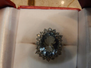 High End 9 ctw Aquamarine & Diamond Ring in 14K Solid Gold