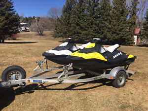 Two 2014 Seadoo Sparks with Mission Trailer