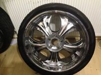"""alloys for sale 22"""" spinerrs with good tyres"""