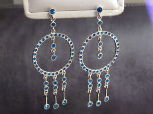 Sliver and Rich Blue Circle Earrings!