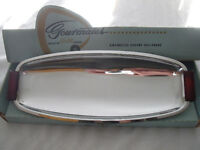 Vtg Retro CHROME Glo-Hill Serving Tray BAKELITE handles footed