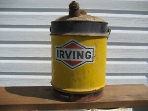 Vintage Irving Oil metal gas can