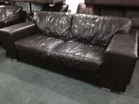 As new 2 large brown leather 2 seater sofas