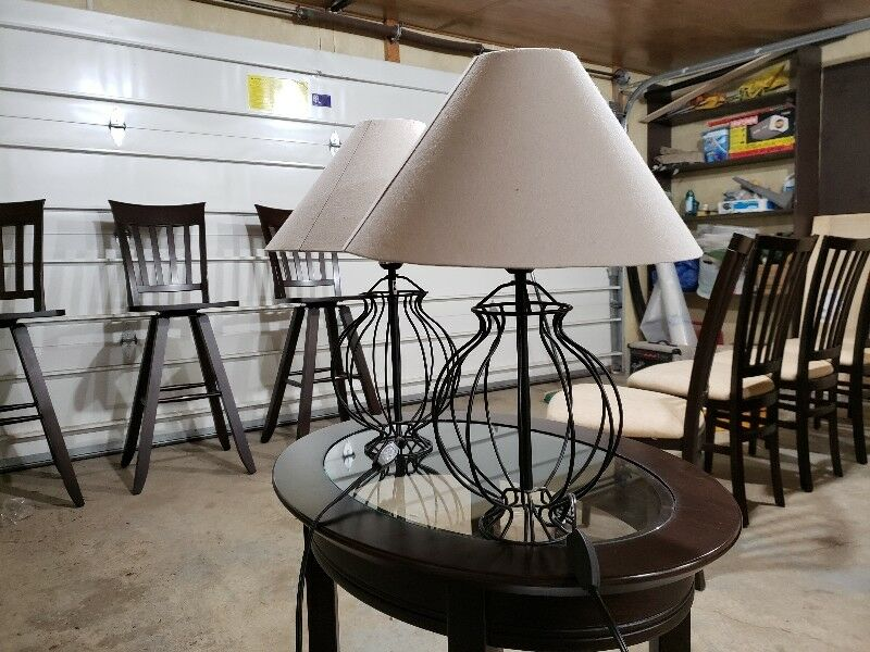 2 black wire frame lamps home dcor accents edmonton kijiji greentooth Choice Image