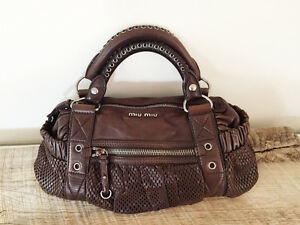 Genuine Luxury Designer Handbag-- Miu Miu Brown Leather Hangbag