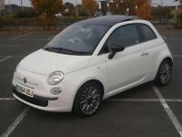 2014 64 FIAT 500 TWINAIR CULT 0.9 85bhp S/S 3DR CAR WHITE RED LEATHER PAN ROOF
