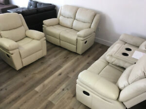 Beige Recliner Set - Sofa/ Love Seat/ Chair