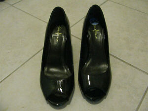 Cole Haan black peep toe Nike Air shoes, 6.5C, Patent leather