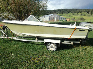 14ft boat for sale with trailer and non-working 40hp engine