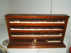Antique Chemists Apothecary Display. 76 small bottles.