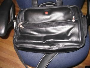 WENGER...black leather.SWISS ARMY.laptop case.. high end