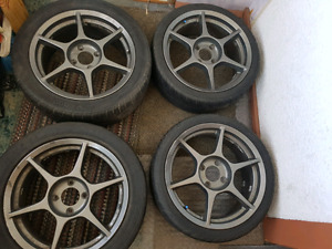 Buddy club P1 RACING RIMS w/tires
