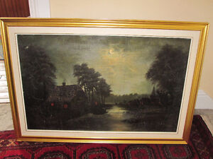 Art Painting--Oil On Canvas--Very Old--Framed