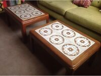 A pair of 1970s G Plan coffee tables teak and ceramic