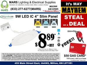 "**LED SLIM PANEL LIGHT 4"" 9W IC TYPE** - Best Offer in GTA!! $8"