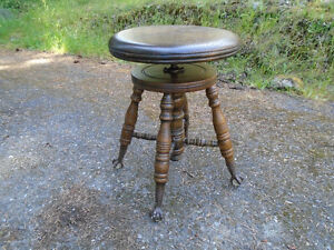 Antique Oak Spinning Piano Stool w/ Glass Ball Eagle Claw Feet