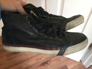 Frye size 10 converse style leather high top sneakers