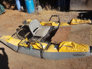 Outfitter pontoon boat with electric motor