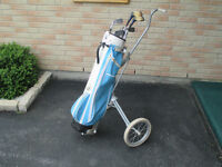 Right Hand 9 Piece Golf Club Set and Cart