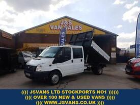 2013 63 FORD TRANSIT 350 LWB T350 125 BHP CREWCAB ALLOY TIPPER 74000 MLS ONLY D