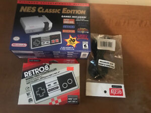 Nes  classic  with  extra controller and extension cable New