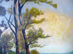 "Algonquin Original Oil Painting by R. Dogger ""Burning Sky"" 1950 Stratford Kitchener Area image 3"
