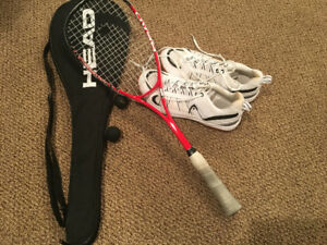 Squash racket and men's shoes
