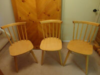 Set of three Solid Wood Kitchen Chairs in a Natural/Honey Stain