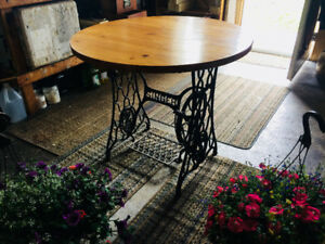 SINGER custom table with pine top