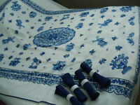 New Blue Delft tablecloth and napkins.