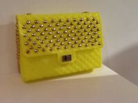 Bling yellow bag with gold chain and gold studs, brand new