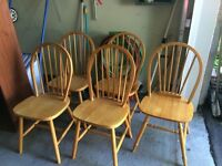 5 wooden Windsor chairs