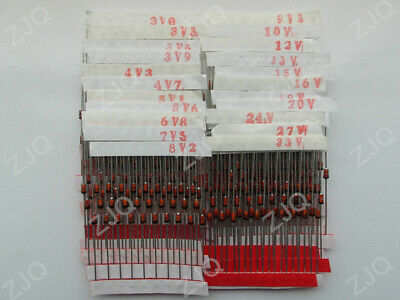 250pcs 25 Values 1w Zener Diode Assorted Kit Assortment Set 3v - 33v