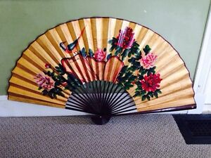 Nice Large Hand Painted and Laquared Wood Chinese Fan