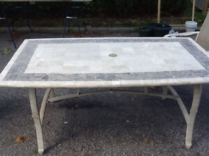 Stone topped patio table