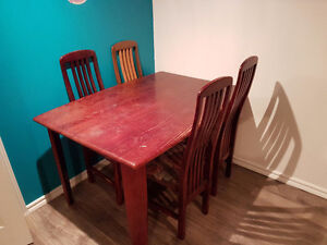 Table set whit 3 chairs (red) & 1 chair