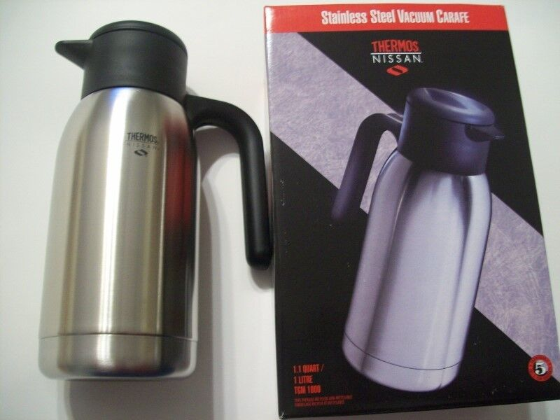 THERMOS NISSAN 1.1Quart 1 Litre model TGM 1000 Stainless Steel Vacuum Carafe New